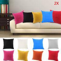 "2x 18"" Plain Dyed Cushion Covers 100% Percale Cotton Sofa Pillow Case Home Decor"