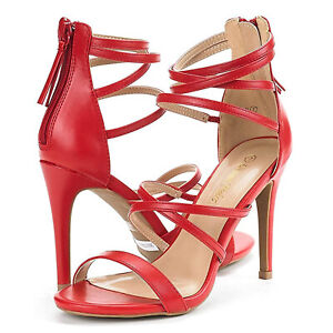 DREAM PAIRS Womens Open Toe Ankle Strappy Back Zipper Heeled Sandals Shoes Size