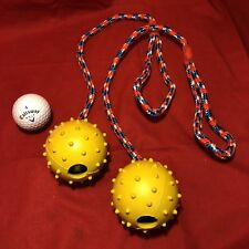 """2x Dog Toy Rubber Nobbly Pimple 2.5"""" Ball & Bell On Rope Throw Interactive Fetch"""