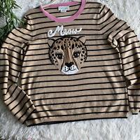 Kate Spade Brooke Street Leopard Stripe Meow Wool Blend Sweater Size XL $268