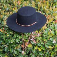 HANDMADE Western hat Genuine leather Cowboy hat Fedora black H136 BIKELIST
