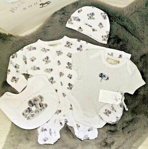 Newborn Baby Unisex 6PC Clothing Set Elephants Sleepsuit Bodyvest NB-6 Months