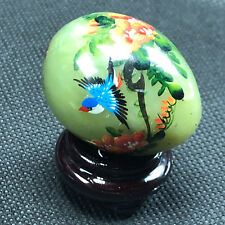 Jadeite Collectors Egg good luck figurine Japan jade green marble bluebird iris