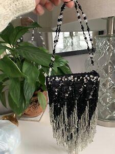 Antique Vintage Art Deco Evening Bag Black & Silver  Glass Beads
