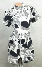 Vintage 60s Black White GEO Geometric Mod Shift Go-Go Sun Dress Sz 16 L XL