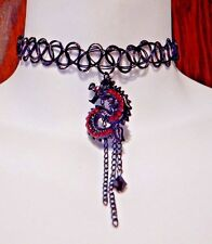 BLACK DRAGON TATTOO NECKLACE 90's retro Chinese Lung serpent red crystals New M3