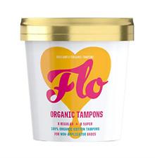 FLO Organic Non-Applicator Tampons, Made from 100% Organic Cotton, Regular & 16