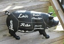 Butcher Chart PIG Hog STATUE*Farmhouse Primitive/French Country Decor*Door Stop