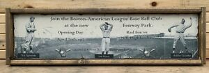 Antique Style Fenway Park Red Sox 1912 Opening day Ad Wooden Sign Display 12x48