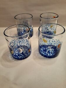 4 Mexican Drinking Highball Glasses, Ocean Pattern, hand blown