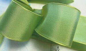 "Vintage Rayon Trim  Ribbon Acetate 1.5"" Yellow Kiwi 1yd Made in France"