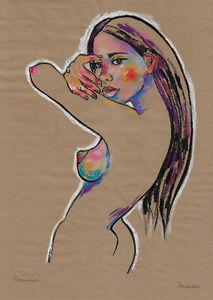 original drawing A3 852DO art samovar modern pastel female nude Signed 2021