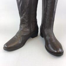 Lunar 41 UK8 Brown Leather Knee High Zip Elasticated Riding Boots Block Heels