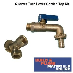 Outside Garden Hose Tap Pack With Lever Bib Tap & Brass Wall Plate Elbow