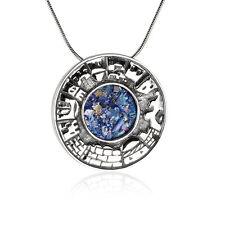 New Handmade Jewelry 925 Sterling Silver Roman Glass Holy city Jerusalem Pendant
