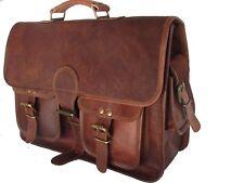 Bag Goat Leather Vintage Messenger Laptop Brown Shoulder Men Briefcase Real