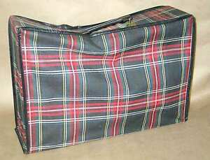 Red Plaid Overnight Bag Suitcase Luggage Zippered Travel Case 12x18 vtg FREE SH