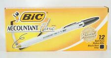 12  BIC CORP BALLPOINT ACCOUNTANT FINE PT BLACK INK PENS SILVER CLIP WHITE BODY