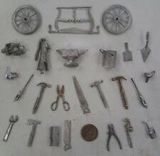 Lot Of 25 Garage Tools Hammer Screwdriver Paint Can Brush miniature metal pewter