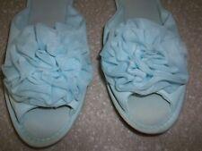 RARE Vanity Fair 60s Barbie Style Pom Pom Chiffon House Shoes Baby Blue SZ 5 - 7