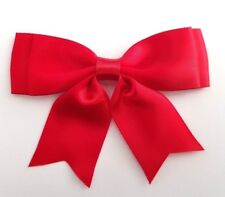 Pack of 5 - Red Large 8.5cm / 25mm Satin Ribbon Ready Made Craft Double Bows