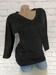 Rainbow Strick-Shirt Schwarz mit Lurex-Streifen Gr. 36/38 neu