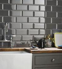 London Bevelled Midnight Grey Gloss Metro Bathroom Kitchen Wall Tiles 10 x 20cm