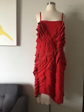 NWT VIONNET Paris Red 100% Silk Dress Size 42 Made in Italy