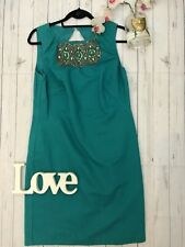 Monsoon Size 14 teal beaded front fitted wiggle occasion party dress VGC fitted