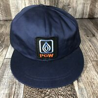 Vintage PGW Winter Snapback Trucker Hat Cap Made In USA Navy Blue XL Adjustable