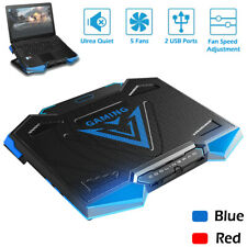 Laptop Cooler Notebook Cooling Pad LED Radiator Dual USB 5 Fans Adjustable Stand