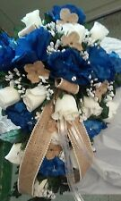 Cascade wedding bouquet  Royal Blue Ivory and Burlap Sale!  RUSH IRDERS AVAIL