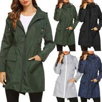Ladies Women Hooded Wind Jacket Outdoor Waterproof Long Rain Coat Windbreaker UK