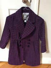 MAC & jAC Women's Purple and Black Houndstooth 3/4 Sleeve Pea Coat Size S