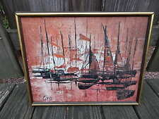 SIGNED GINO OIL ON CANVAS NAUTICAL ABSTRACT PAINTING INTERNATIONAL SALE