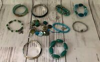 Vintage Present Costume Jewelry Lot of 10 unique Bracelets Turquoise Blue Teal