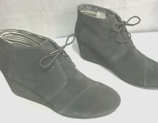 TOMS Womens Grey Suede Wedge Pump, new, size 12