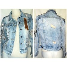MO YE DRESS H&X RARE DENIM JACKET WOMENS BNWTS SZ SMALL RIPS DISTRESSED DIAMONTE