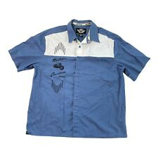 Harley-Davidson Blue Bowling Shirt Embroidered Men XL Relaxed Fit Motorcycle