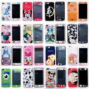 360° Shockprooof Disney Phone Case Cover For iPhone 7 Plus 6S + Tempered Glass