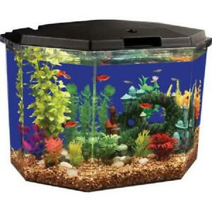 Lighting Aqua Culture SemiHex 6.5 Gal Aquarium Kit With LED With Filtration USA