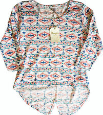 NEW Wrangler Scoop Neck Long Sleeve Hi Low Aztec Print Top Shirt Large NWT