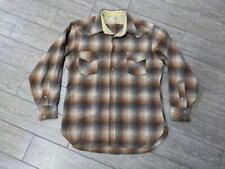 vintage PENDLETON shadow plaid WESTERN snap button XL brown/gray shirt