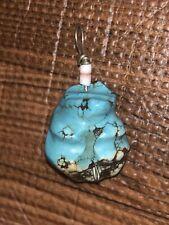 Zuni Carved Turquoise Bear Fetish Pendant