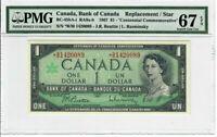 Canada $1 Dollar 1967 BC-45bA-i PMG Superb GEM UNC 67 EPQ Replacement / Star