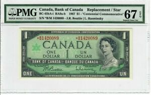 Canada $1 Dollar 1967 BC-45bA-i PMG Superb GEM UNC 67 EPQ Replacement / Star