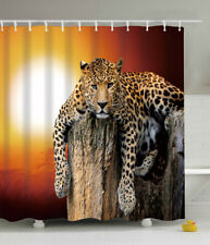 Leopard Sunset Big Cat Wild Animal Fabric Shower Curtain 70x70 Sun