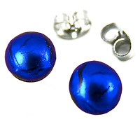 "Tiny DICHROIC Post EARRINGS 1/4"" 7mm Sapphire Cobalt BLUE Fused GLASS STUD Dots"