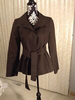 Womens Ann Taylor Loft Belted Brown Button Up High Collar Button Jacket Size 4