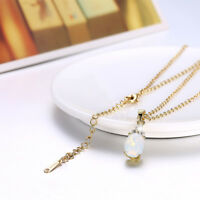 Lovely 18K Gold Filled Clear Crystal Zircon Oval Opal Necklace Gift Party